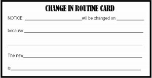 change in routine card - visual tool