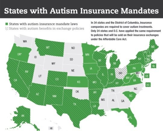 States with Autism Insurance mandates